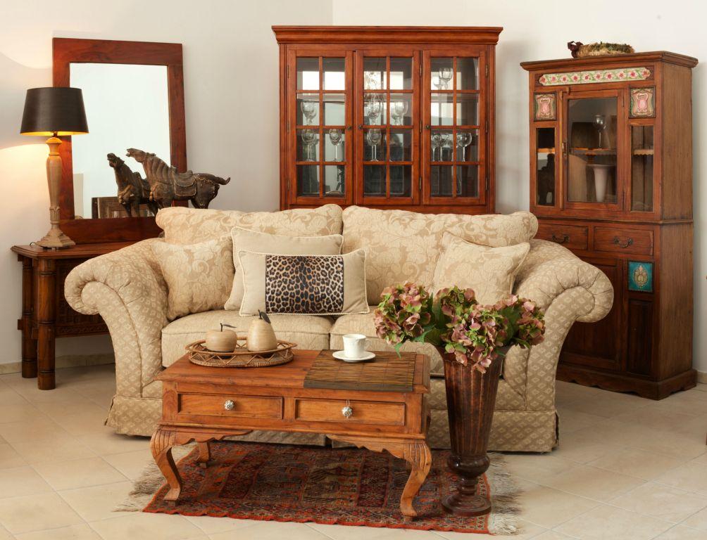 Meble indyjskie kolonialne drewniane loftowe